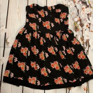 Superdry vintage strapless black dress with roses